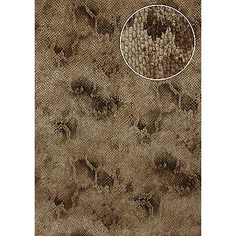 Animal motif wallpaper Atlas STI-5100-6 non-woven wallpaper imprinted with snake pattern shimmering Brown pale brown sepia Brown 7,035 m2