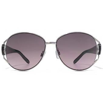Karen Millen New- Large Glamour Metal Sunglasses In Light Gunmetal Black