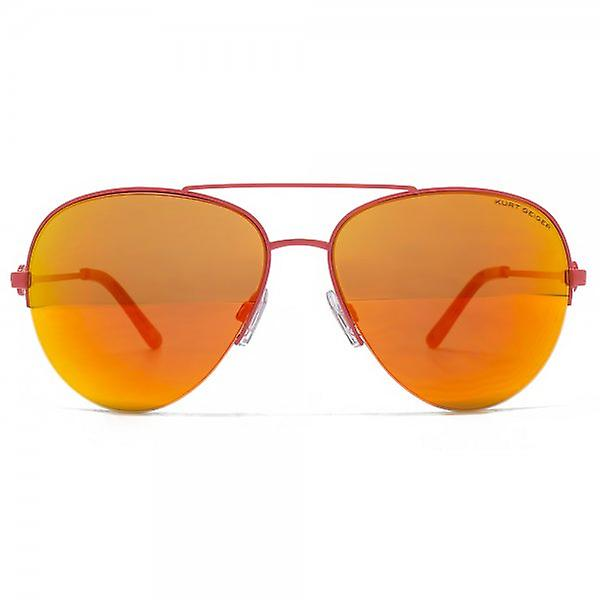 Kurt Geiger Grace Semi Rimless Aviator Sunglasses In Coral Red Mirror