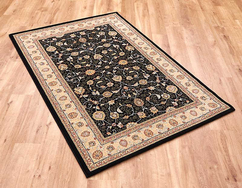 Noble Art 6529-090 Black ground with ivory and gold border Rectangle Rugs Traditional Rugs