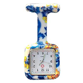 Boolavard® TM Nurses Fashion Coloured Patterned Silicon Rubber Fob Watches - Square Blue Flowers