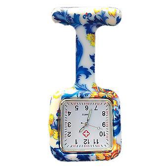 Boolavard® TM Krankenschwestern Fashion farbig gemustert Silicon Rubber Fob Uhren - quadratischen blauen Blüten