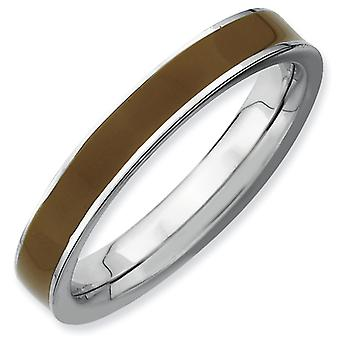 Sterling Silver Polished Rhodium-plated Stackable Expressions Brown Enameled 3.25mm Ring - Ring Size: 5 to 10