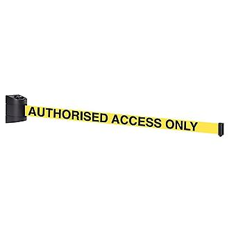 Black Wall Mounted Barrier - 4.6m Yellow 'Authorised Access Only' Belt