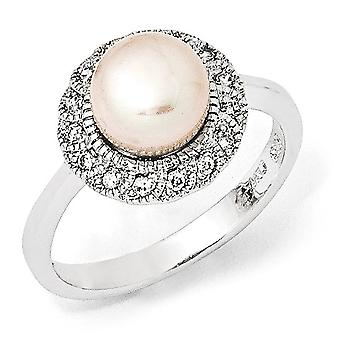 Sterling Silver Rhodium-plated Cubic Zirconia Pink Freshwater Cultured Pearl Ring - Ring Size: 6 to 8