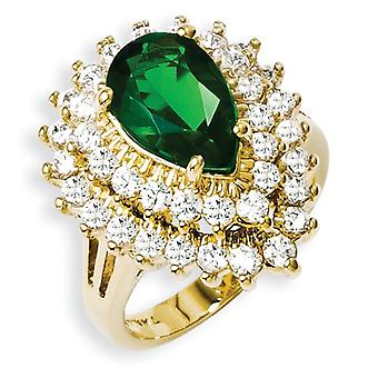 Kennedy Gold-plated Crystal and CZ Cocktail Ring - About 0.75 Inch Wide - Ring Size: 6 to 10