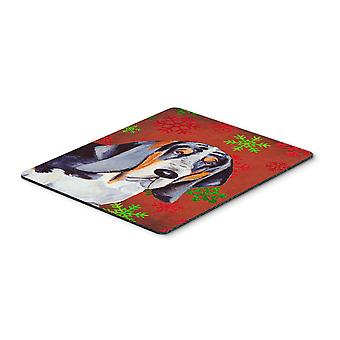 Basset Hound Red and Green Snowflakes Christmas Mouse Pad, Hot Pad or Trivet