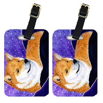 Carolines Treasures  SS8417BT Pair of 2 Shiba Inu Luggage Tags