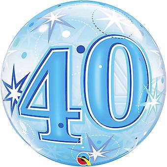 Qualatex 22 Inch 40th Birthday Blue Starburst Sparkle Single Bubble Balloon
