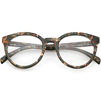 Women's Marble Printed Round Eyeglasses Horn Rimmed Clear Lens 50mm