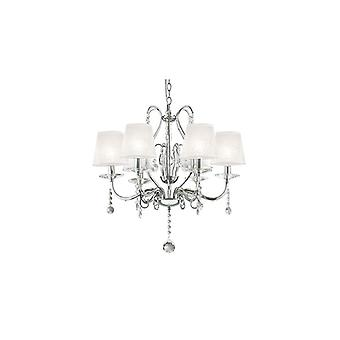 Senix Chrome And Crystal Six Light Chandelier - Ideal Lux 32597