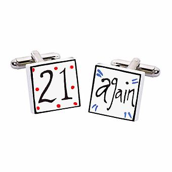 21 Again Cufflinks by Sonia Spencer, in Presentation Gift Box. Hand painted