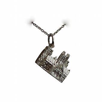 Silber 12x17mm Lincoln Kathedrale Anhänger mit einem Rolo Kette 24 Zoll