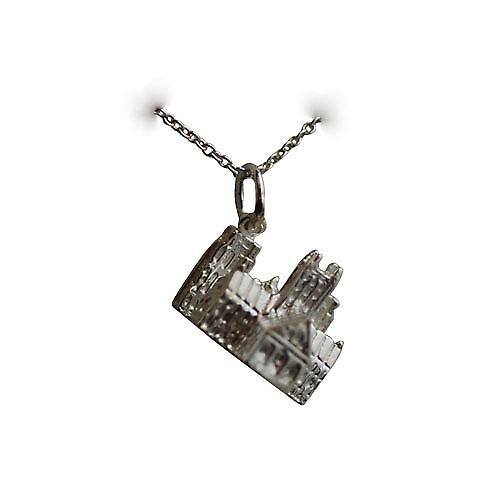 Silver 12x17mm Lincoln cathedral Pendant with a rolo chain