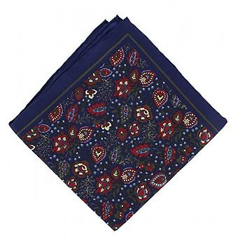 Michelsons London Garden blommig Silk Pocket Square - Navy