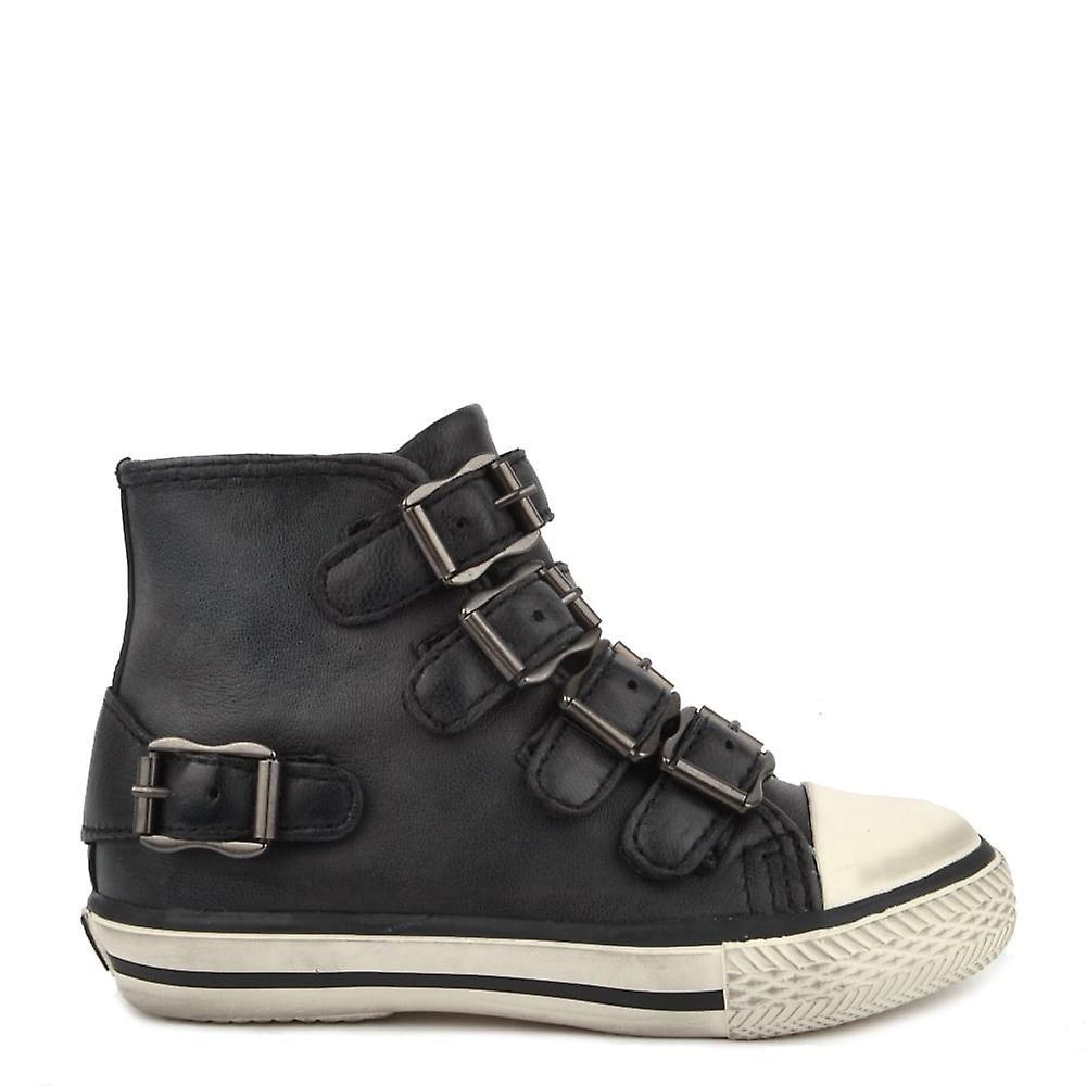sale retailer f0155 cb61b Fanta noir cuir boucle Trainer Ash Chaussures enfants enfants enfants 368e62