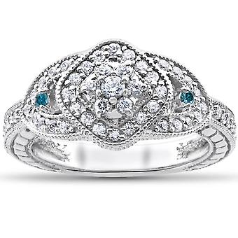 3 / 4ct behandelt blau & weiße echte Diamant Pavé Engagement Vintage Ring 14k Gold