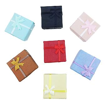 TRIXES 5 x Elegant Luxury Square Bow Ring Gift Boxes for Jewellery Presentation