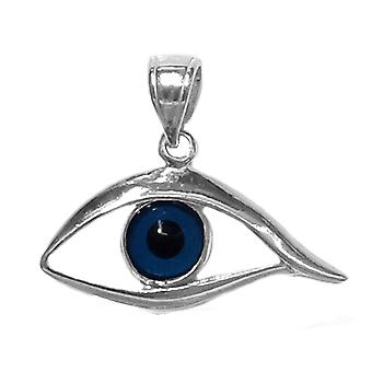 Sterling Silver Evil Blue Eye Pendant Charm, 25 x 20mm