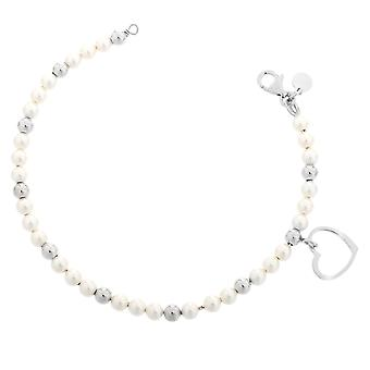Orphelia Silver 925 Bracelet Pearls + Heart Charm  ZA-7183