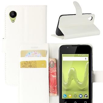 Tasche Wallet Premium Weiß für Wiko Sunny 2 Schutz Hülle Case Cover Etui Neu