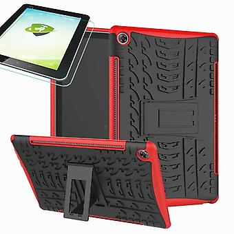 For Huawei MediaPad M5 10.8 and 10.8 Pro hybrid outdoor protective case red bag + 0.4 H9 protection glass