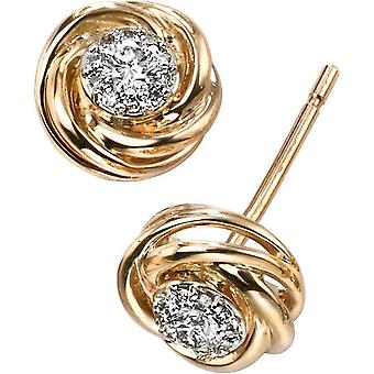 Elements Gold Exquisite 9ct Gold Diamond Swirl Earrings - Clear/Gold