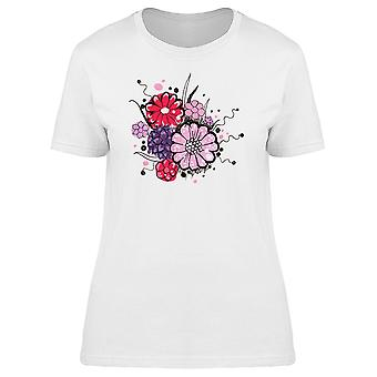 Bouquet Of Pink Flowers Doodle Tee Women's -Image by Shutterstock