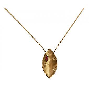 GEMSHINE Halskette Anhänger massiv 925 Silber vergoldet mit Granat Edelstein