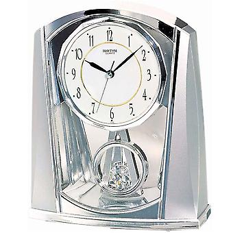 Table clock Quartz Watch Silver rhythm with slow-motion pendulum 21 x 18 cm