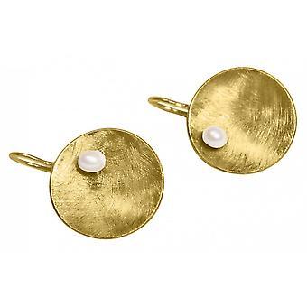 -Shell - pärla - vit - guld pläterad damer - örhängen - Örhängen - 925 Silver - 3 cm