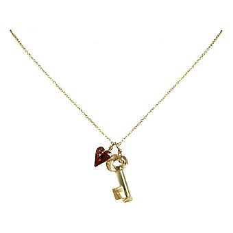 Ladies - necklace - pendants - gold plated 45 cm - key - heart - red - yellow-