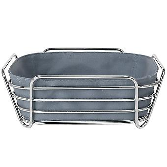Bread basket large steel wire chrome cotton insert Flint Stone