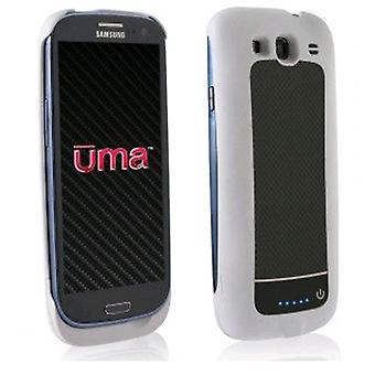 Wirex - UMA Slim Power Battery Case for Samsung Galaxy S3 Cell Phones - White/Bl