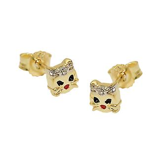 Plug cat 5mm white cubic zirconia and coloured painted 9Kt GOLD