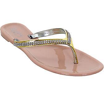 Damer Silver guld Diamante Strap eleganta kvinnors Thong mode sandaler