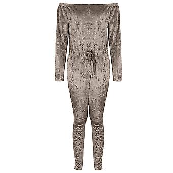 Damen Crushed Velvet Knie Bardot All In One Lounge Wear Overall gerissen