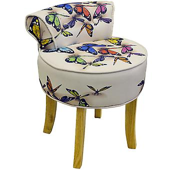 Butterfly - Stool / Low Back Padded Chair With Wood Legs - Cream / Multi
