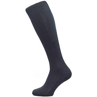 Pantherella Kangley Rib Over the Calf Merino Wool Socks - Navy