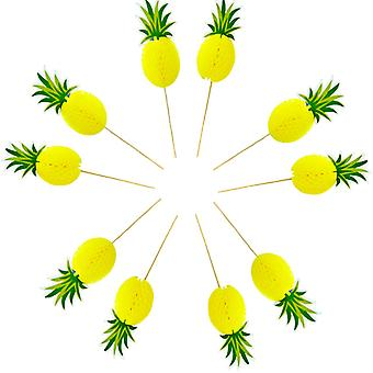 TRIXES Pineapple 3D Honeycomb 10PCS Cupcake Birthday Cake Toppers