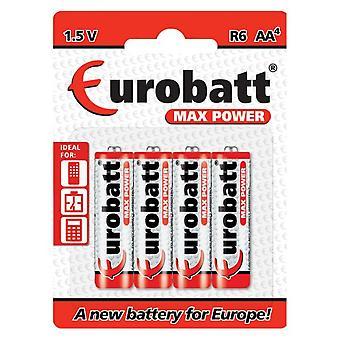 Eurobatt Max Power 1 .5V R6 AA Batterien (4 Stück)