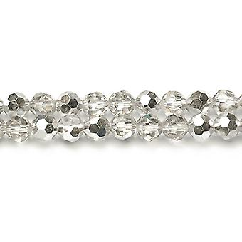 Strand 50+ Clear/Silver Czech Crystal Glass 6mm Faceted Round Beads HA20005