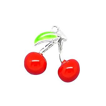 Packet 3 x Red/Green Enamel & Alloy 16mm Cherry Charm/Pendant ZX05615