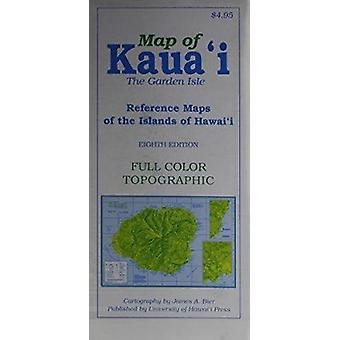 Karta över Kauai Garden Isle - referenskartor över öarna i Hawaii