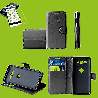 For Sony Xperia 1 6.5 inch Pocket wallet premium black protective sleeve case cover pouch + 0, 26mm H9 2.5 hard glass