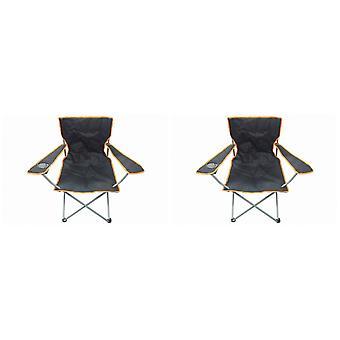 2 nero & Orange sedia pieghevole con portabicchieri