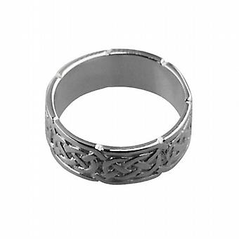 9ct White Gold 6mm Celtic Wedding Ring Size H