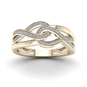 IGI Certified 10k Yellow Gold 0.15 Ct Diamond Interlocking Ribbons Fashion Ring