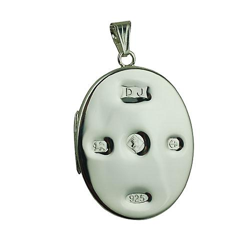 Silver 35x26mm plain display Hallmarked flat oval Locket