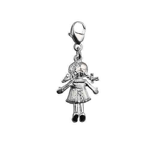 Silver 19x13mm moveable Rag doll Charm on a lobster trigger